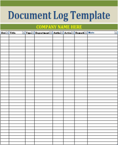 Document Log Template
