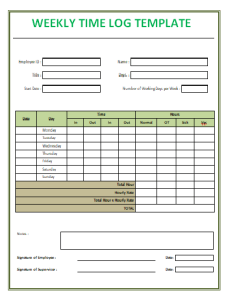 time logs template