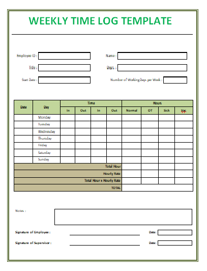 Weekly Time Log Template