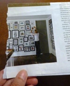 This is the picture from Traditional Home magazine that inspired the photo wall on my basement landing.