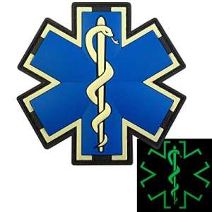Glow Dark EMS EMT Medic Paramédical Paramedic Star of Life Morale Tactical PVC 3D Touch Fastener Écusson Patch