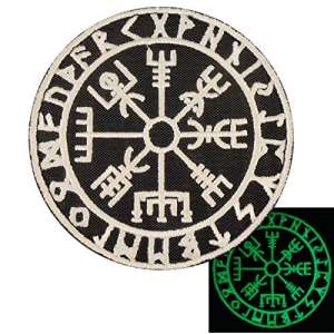 Glow Dark Vegvisir Viking Compass Norse Rune Morale Tactical Velcro Écusson Patch