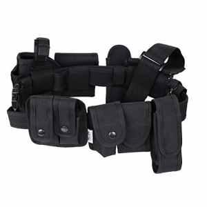 Pellor Extérieure Multifonction Tactique Ceinture de Sécurité Garde Police Militaire Kit Utilité 10 Pochettes Nylon Noir