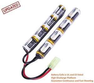 [UL and CE Certification] Keenstone 9,6 V 1600 mAh NiMH Mini batterie en kit papillon Nunchuk bâton + mini connecteur Tamiya de haute décharge pour fusil à air comprimé ICS CA TM SRC JG G36 G&M733 etc