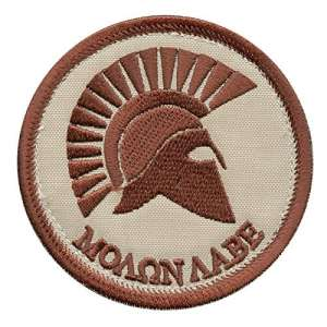 Molon Labe Desert Spartan Helmet AOR1 Tan Mud Morale Tactical Hook&Loop Écusson Patch