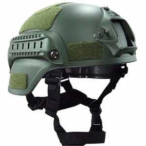 LEAGUE&CO MICH 2002 Version casque militaire Accessoires tactiques Army Protector de tête de combat Équipement en ABS pour Airsoft Paintball (armée verte)