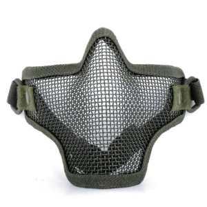 Masque de protection pour airsoft, grillagé en acier au carbone, moitié du visage, réglable, avec bande élastique, vert