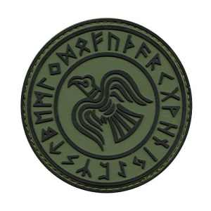 Olive Drab OD Rare Norse Viking Raven Runes Odin God of War Morale PVC Gomme 3D Hook&Loop Écusson Patch