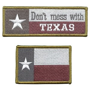 Set of 2 Touch Fastener Patches Don't Mess with Texas Lone Star Drapeau Morale Tactical ISAF Armée