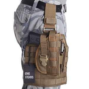 OneTigris La goutte de jambe MOLLE Tactique et L'étui à pistolet avec Cartouchière pour Les shooters droitiers 1911 45 92 96 Glock (Coyote)
