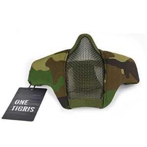 OneTigris Masque De Protection Visage Moitié En Maille D'acier Avec Les Sangles Réglables Pour Airsoft Paintball CS