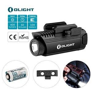 Olight® PL-1 II VALKYRIE – Lampe LED Cree XP-L CW Puissante, 450 Lumens pour Pistolet Fusil à Armes, Appliquable sur MIL-STD-1913 et Glock, pour Autodéfense, Application de la Loi + 1913 rail mount (pour 1913 Rail) + Pile CR123A 1600mAh