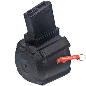 Battleaxe 1000rds Tambour électrique Chargeur pour M4/ M16 Airsoft AEG (Noir) – Porte-clés Inclus