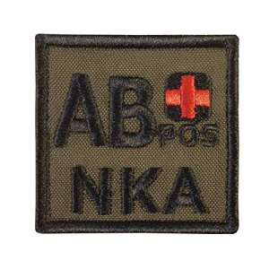 Olive Drab AB POS AB+ NKA Groupe Sanguin OD Green Embroidered Hook&Loop Écusson Patch