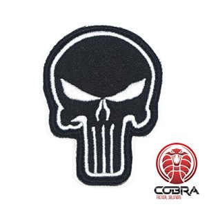 Punisher's Embroidery Tactical Army Badge Black white with velcro