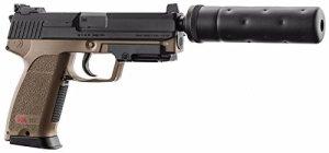 PACK H&K USP TACTICAL AEP TAN UMAREX SEMI ET FULL AUTO SYSTEME SHOOT UP AVEC SILENCIEUX FACTICE 0.5 JOULE + UNE MALLETTE NOIRE 28 X 18 X 6 CM