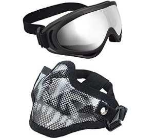 Xcyt tactique Airsoft Masque réglable Demi masque visage Masque de maille en acier et ensemble de lunettes pour la chasse, la vue, paintball, crâne