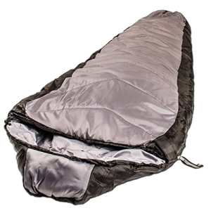 Northstar Tactical Operations Double Layer Mummy, Jumbo Zipper, Sleeping Bag, Compression Stuff Sack Black/Grey
