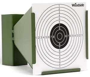 Woodside – Porte-cible entonnoir avec récupérateur de balles + 100 cibles de 14 cm – pour fusil de chasse/pistolet d'airsoft