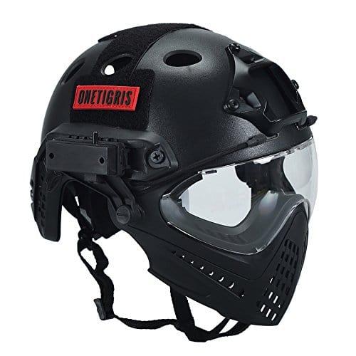 OneTigris F22 Casque Intégré Tactique Avec le Système De Protection Faciale Amovible Pour Airsoft (Noir)