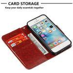 Moiky Corde Portefeuille Coque pour iPhone Se,Clapet Étui pour iPhone 5S, Classique Marron 3D Hibou PU Cuir Anti Rayure Porte Carte Stand Magnétique Coque avec Soft TPU