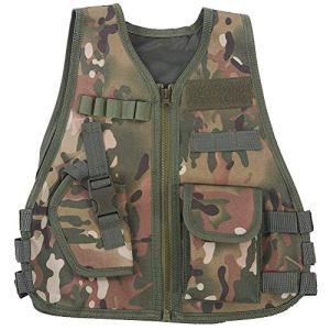 VGEBY Ajustable Gilet de Camouflage avec Multi Poches pour Enfants pour Jeux de Plein air Chasse Photographie Pêche Camp, CP Camouflage, L