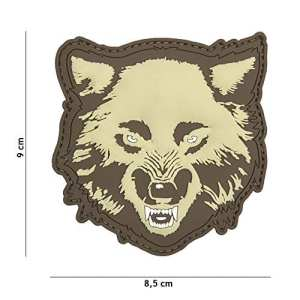 Patch 3D PVC Wolf «Loup» Couleur Sable / Tan / Désert / Coyote / Cosplay / Airsoft / Camouflage …