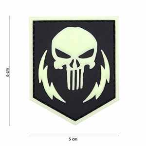 Patch 3D PVC Punisher Thunder Fluorescent Noir / Cosplay / Airsoft / Camouflage