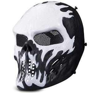 Kuyou Airsoft Masque Tactique intégral en Maille pour Protection des Yeux, Blanc