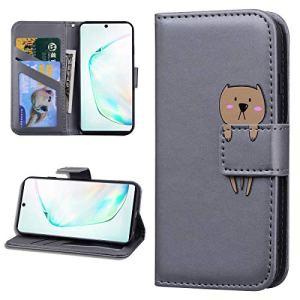 Miagon Animal Flip Coque pour Samsung Galaxy S7 Edge,Portefeuille PU Cuir TPU Cover Désign Étui Folio à Rabat Magnétique Stand Wallet Case,Gris