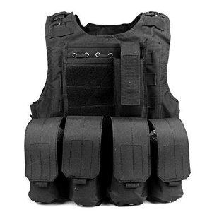 Anzer Gilet tactique militaire Molle avec 4 pochettes amovibles Porte plaque – équipement pour Chasse Airsoft Survie Aventure, noir