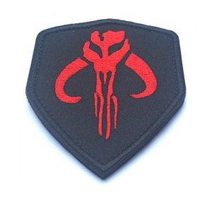 Chasseur de Primes Boba Fett Mandalorien Bantha Tête de mort brodée Airsoft Paintball Patch, Red, 75mm x 90mm