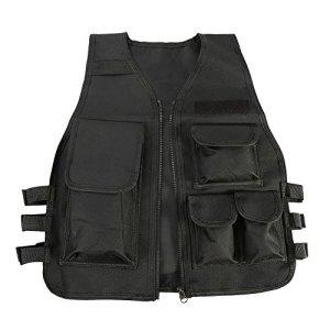 Gilet Tactique Molle Enfant Veste Camouflage de Combat Gilet de Protection Entraînement Elite Nerf Jeux CS Multipoches – 8 à 14 Ans ( Couleur : Noir )