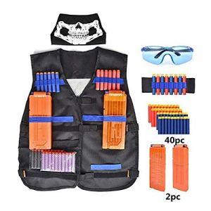 Lomire Kit de Gilet Tactique de Nerf N-Strike, Kit Tactique des Enfants pour Les Jeux Nerf, avec 40 fléchettes, 2Pcs 12-Dart Clips, 1 Bracelet, 1 Masque et 1 Lunettes, Cadeau Parfait pour garçons