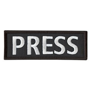 PRESS 5″x2″ Body Armor Tactical Vest Media Embroidered Nylon Sew Thermocollant Écusson Patch