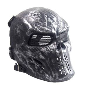 Sensong Masque Airsoft Protection Paintball Masque de Squelette Crâne Complet Tactique CS Jeu Halloween Décoration Cosplay Argent