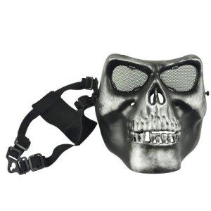 Airsoft Masque Protection Crâne Noir/argenté