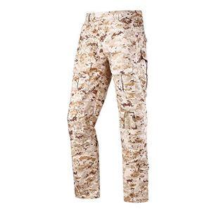 LANBAOSI Pantalon de Combat Tactique Multicam Pantalon Cargo Militaire Airsoft Chasse Extérieure ACU Camo Pantalon