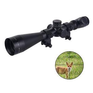 ToopMount Lunette de visée Tactique Airsoft Hunting 3.5-10X50mm Lunette de visée illuminée Rouge 11 contrôles de Niveau avec Anneaux de Montage de 20 mm et 11 mm (M3 Low Knob)