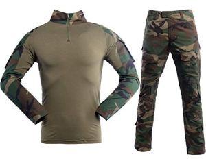 LANBAOSI Pull et Pantalon Tactique de Combat pour Homme à Manches Longues. Tenue de Combat avec Camouflage Woodland, Uniforme de Chasse Militaire avec 1/4 Zip,M / Tag L,Jungle Camo