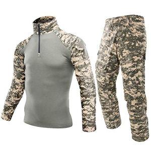 HUAJIANGHU T-Shirt Armée Uniforme Militaire Costume Tactique de Camouflage Pantalon de Combat Shirt Soldat Airsoft Équipement de Costume Chemise Militaire Outdoor (Color : ACU, Size : Large)