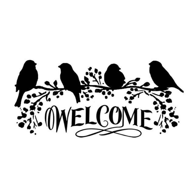 Pochoir Oiseau Welcom L Atelier D Elfie