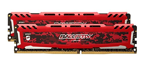 Ballistix Sport LT 16GB Kit (8GBx2) DDR4 2400 MT/s (PC4-19200) DIMM 288-Pin Memory – BLS2C8G4D240FSE (Red)