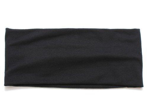 Gleader femmes large Yoga Danse Sport bandeau elastique cheveux bande Turban noir