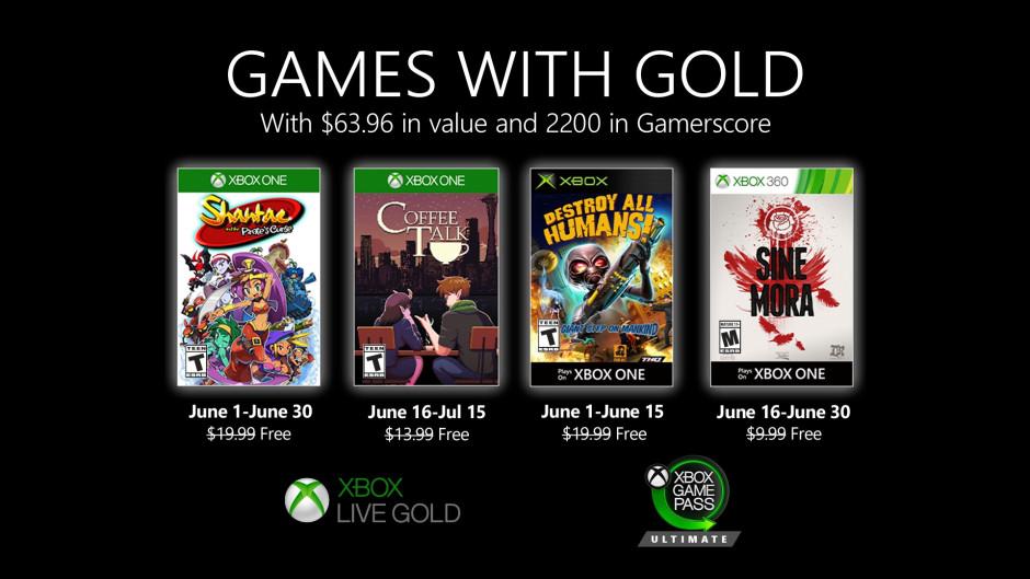 Anunciados los Games with Gold de junio de 2020