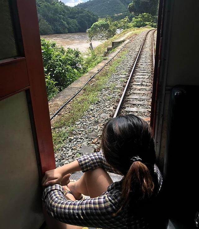 Enjoying the view of the railway with Padas River.