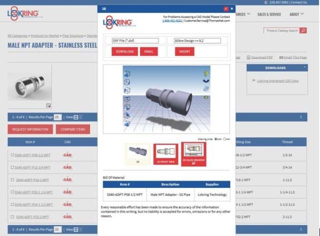 Lokring Catalog showing cad file