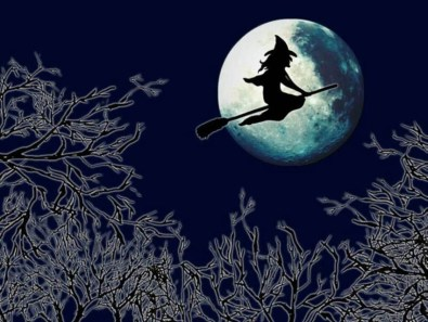 Halloween, witch on broomstick, moon