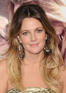 Drew Barrymore, long ombre hair