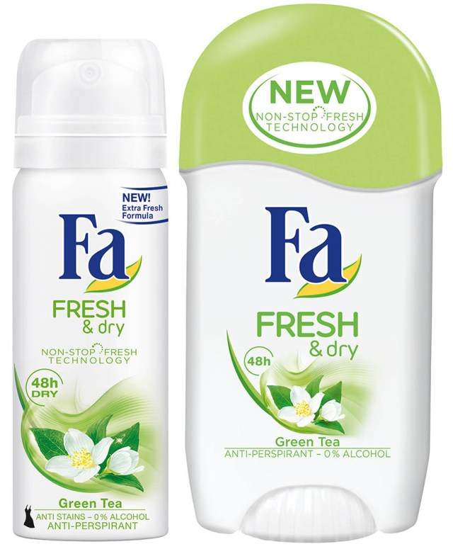 Fa Fresh & Dry, Lotus Flower & Green Tea, minispray & stick